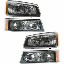 Headlights Lamps Parking Light Kit Left Right Set for Chevy Silverado Avalanche