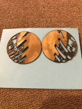 Earrings Made In Usa (Bl) Handmade Handcrafted Gold Toned Round Pierced