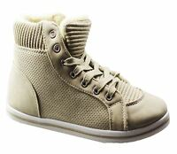 Womens Fur Lined Boots Ladies Winter Warm Trainer Flat Comfort Ankle Shoes Size