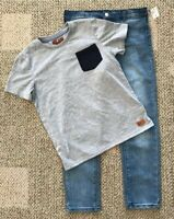 Size 6 Boys 7 For All Mankind 2 Piece Set Blue Jeans Gray Short Sleeve T-Shirt