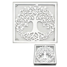 Set of 4 Square Mirrored Glass Coasters Tree Of Life Home Decor Drinks Mats Gift