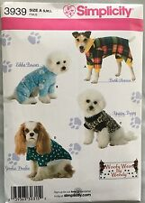 Simplicity Sewing Pattern 3939  Dog Coat Clothes Woofy Wear Sizes S-L