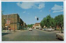 Perry Street Cars Sohio Gas Sign Paulding Ohio 1950s postcard