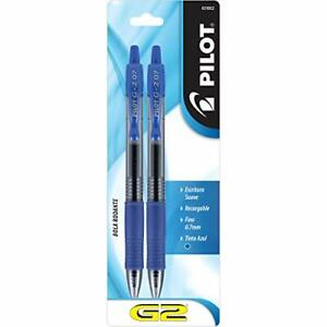 G2 Refillable Retractable Rolling Ball Gel Pens Fine Point Blue Ink 2-Pack