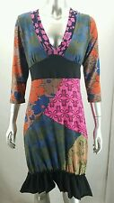 YOUNG THREADS Knit Artsy Dress 3/4 Sleeve Size SMALL S