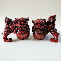 20th century Chinese Foo Dogs Resin Cinnabar good luck statues large figurines