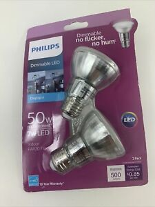 Philips 50W Replacement PAR20 Dimmable LED Flood Light Bulbs In Daylight 2 Pk.