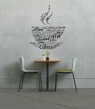 Wall Vinyl Sticker Bedroom coffee beans cup quote words breakfast kitchen bo2638