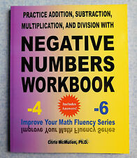 Negative Numbers Workbook practice maths fluency book for children or adults