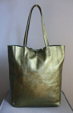 Damen Schultertasche Tasche Handtasche Shopper metallic Grün Leder Italy