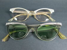 VINTAGE CAT EYE Prescription Glasses Metal Frames inlay rhinestones Etched LOT