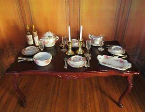 NEW DOLLHOUSE PORCELAIN DINNERWARE SET, SERVING PIECES, SILVERWARE, GLASSES MORE