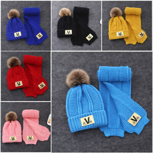 2Pcs Scarf Hat Set Knitted Kids Winter Hat And Scarf For Boys Girls 2-6 Years
