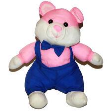 Sugar Loaf Pink Puffalump Bear Mouse Plush Lovey 11 inch Stuffed Animal Overalls
