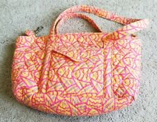 Kate & Sara Quilted Orange Pink Fish Print Hand Bag Purse 15 inches long