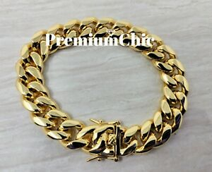 Mens Miami Cuban Link Bracelet 14k or 18K Gold Plated Stainless Steel Hip Hop