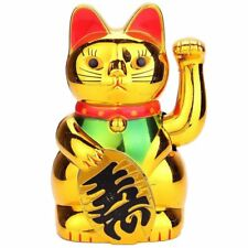 5'' Golden Waving Cat Ceramics Maneki Neko Feng Lucky Wealth Prosperity For Home