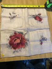 Vintage Kimball Monique White Linen Handkerchief Lg Red Roses & Small Blossoms