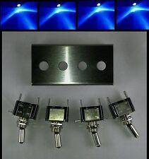 Toggle Switch Panel Blue LED Stainless Steel 4 hole Rocker 12V Bracket Amp Jeep