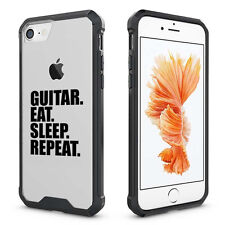 For iPhone 6 6s 7 Plus Clear Shockproof Bumper Case Guitar Eat Sleep Repeat