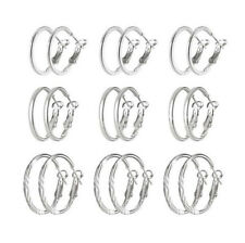 9 Pair/Set Small Hoop Earrings 3 Size Round Ear Stud For Unisex Simply Jewelry