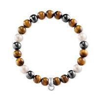 X0218 NEW Genuine Thomas Sabo Pearl,Grey,Tiger eye Elastic Bracelet L16.5 £23.95