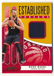 MARC GASOL 2019-20 ABSOLUTE ESTABLISHED THREADS JERSEY RELIC RAPTORS