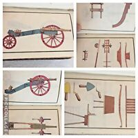 3 Military Manuscript Books Artillery 1718 Illustrated Drawings Art Cannons Guns