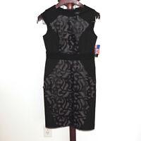 R & M Richards size 8P Petite Black Tan Laser Cut Sleeveless Sheath Dress NWT