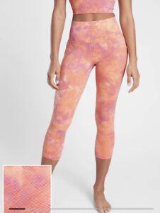 Athleta Salutation Stash Pocket II Textured Capri Spray Dye Coral Small Petite