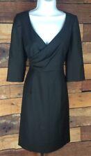 J Crew~8~Faux Wrap 3/4 Sleeve 100% Wool Sheath Dress Black Lined Career