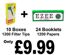 1200 Ezee Green Cigarette Rolling Papers and 1200 Swan Extra Slim Filter Tips