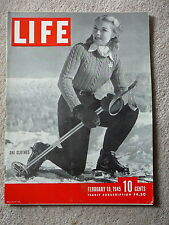 LIFE MAGAZINE -  FEBRUARY 19 1945 - SKI CLOTHES - VERY GOOD CONDITION