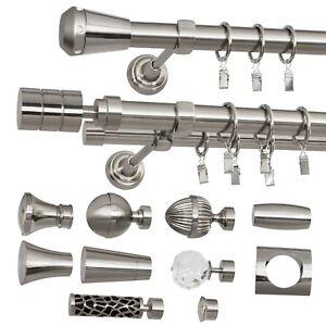 Gardinenstange Vorhangstange 25mm 1-läufig/2-läufig Edelstahl Design Metall
