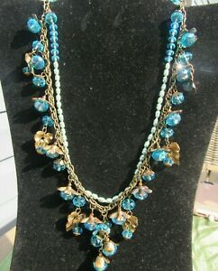 Vintage Ice Blue Miriam Haskell Necklace Signed Clasp & Tag Gilt Metal & Pearl