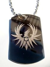 Military Dog Tag Metal Chain Necklace Soaring Red Phoenix Bird Eagle Tattoo New