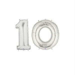 """Party Balloon Numbers """"10"""" Silver Betallic Megaloon 40"""" Mylar"""
