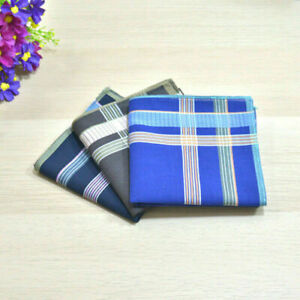 100% Cotton Handkerchiefs Striped Hanky Pocket Square Business Unisex 43*43CM