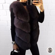 Luxury 100 Real Whole Fox Fur Vest Natural Fox Short Jacket Gilet Waistcoat Dark Green 2xl( Bust 104 Cm)