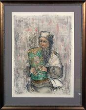 """Edna Hibel """"Israeli Rabbi"""" Framed Hand Signed"""