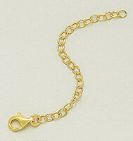 """1micron 18k Yellow Gold Over Sterling Silver 3"""" Chain Necklace Bracelet Extender"""