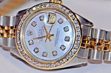Womens Rolex Datejust Oyster Perpetual 18K Gold Diamonds Everywhere