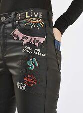 Topshop Moto Jamie Scribble Coated Black Jeans Womens 28 Skinny Embroid NWT $115