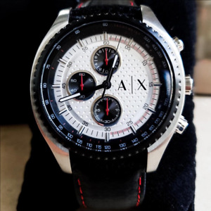 Armani Exchange AX1611 Silver Dial, Black Leather Strap Chronograph Men's Watch