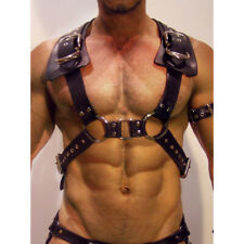 Man Leather Harness Adjustable BDSM Metal Waist Bondage Costume Straps Suspender