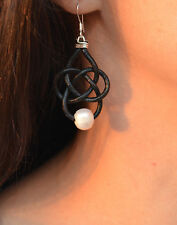 Pearl Leather Celtic Knot Earrings Fashion Jewelry Handmade Yevga 2.25'' long