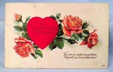 Vintage Valentine Postcard St. Valentine's Offering Heart Roses #2