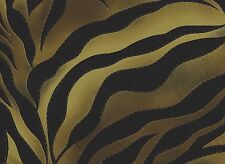 Black / Brown / Gold Stripes Printed Polyester Fabric