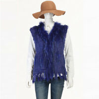 100% Real Genuine Rabbit Fur Vest Raccoon Trim Waistcoat Jacket Women Vintage