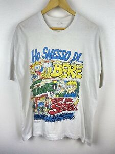 Vintage French Cartoon Weed Beer Sex 90s Mens T Shirt Size XL Rare Single Stitch